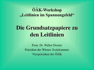 """ÖÄK-Workshop """"Leitlinien im Spannungsfeld"""" Die Grundsatzpapiere zu  den Leitlinien"""