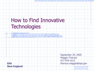 How to Find Innovative Technologies