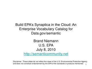 Build EPA's Synaptica in the Cloud: An Enterprise Vocabulary Catalog for Data/semantic