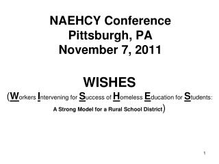 NAEHCY Conference Pittsburgh, PA November 7, 2011
