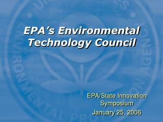 EPA's Environmental Technology Council