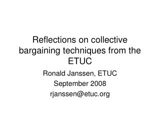 Reflections on collective bargaining techniques from the ETUC