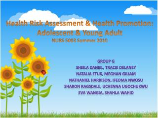 Health Risk Assessment & Health Promotion: Adolescent & Young Adult NURS 5003 Summer 2010