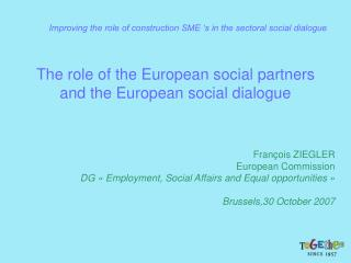 The role of the European social partners and the European social dialogue
