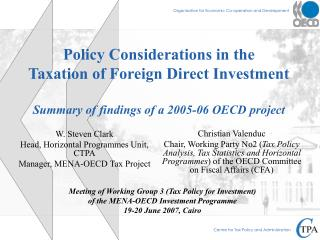 Meeting of Working Group 3 (Tax Policy for Investment) of the MENA-OECD Investment Programme