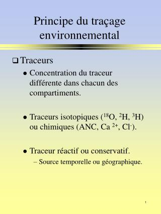 Principe du traçage environnemental