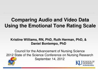 Comparing Audio and Video Data Using the Emotional Tone Rating Scale