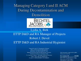 Managing Category I and II ACM During Decontamination and Demolition