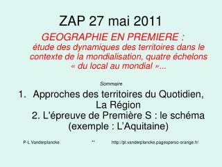 ZAP 27 mai 2011