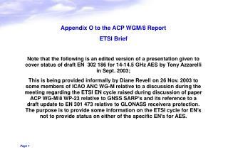 Appendix O to the ACP WGM/8 Report ETSI Brief