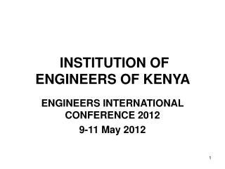 INSTITUTION OF ENGINEERS OF KENYA