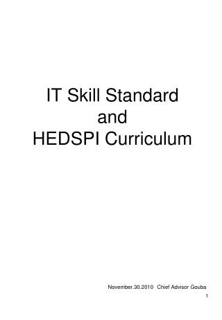 IT Skill Standard and HEDSPI Curriculum