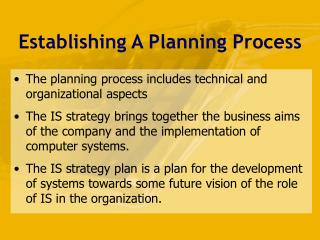Establishing A Planning Process