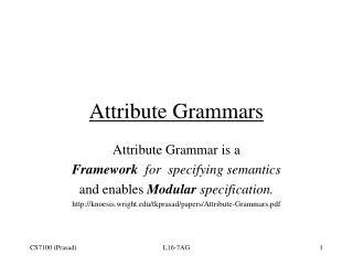 Attribute Grammars