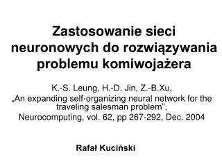 Zastosowanie sieci neuronowych do rozwiązywania problemu komiwojażera