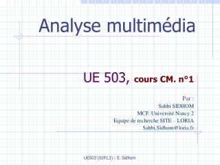 UE 503,  cours CM. n°1