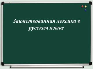 Заимствованная лексика в русском языке