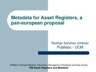 Metadata for Asset Registers, a pan-european proposal