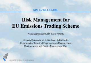 Risk Management for  EU Emissions Trading Scheme