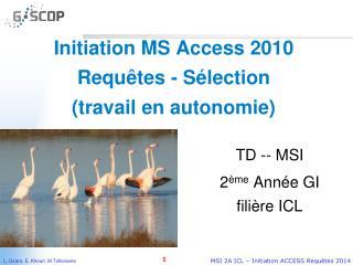 Initiation MS Access 2010  Requêtes - Sélection  (travail en autonomie)