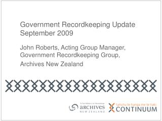 Government Recordkeeping Update September 2009