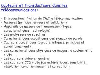 Capteurs et transducteurs dans les télécommunications:
