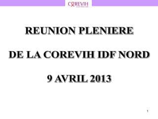 REUNION PLENIERE DE LA COREVIH IDF NORD 9 AVRIL 2013