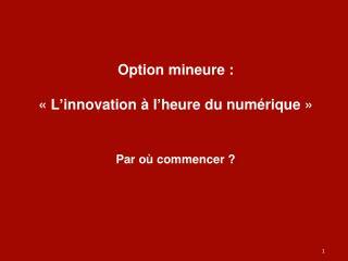 Option mineure :  « L ' innovation à l ' heure du numérique »