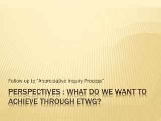 PERSPECTIVES : What do we want to achieve through  etwg ?