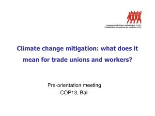 Climate change mitigation: what does it mean for trade unions and workers?