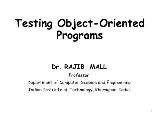 Testing Object-Oriented Programs