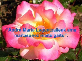"""""""Andre Maria Laguntzaileak ama maitasunez maite gaitu""""."""