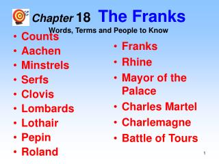 Chapter 18   The Franks Words, Terms and People to Know
