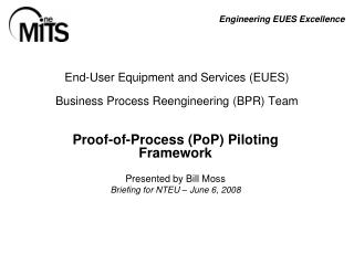 End-User Equipment and Services (EUES) Business Process Reengineering (BPR) Team