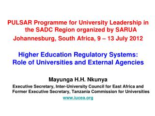 PULSAR Programme for University Leadership in the SADC Region organized by SARUA