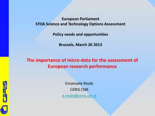 The importance of micro-data for the assessment of European research performance