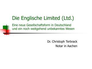 Dr. Christoph Terbrack Notar in Aachen