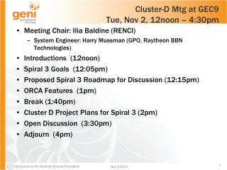 Cluster-D Mtg at GEC9  Tue, Nov 2, 12noon – 4:30pm