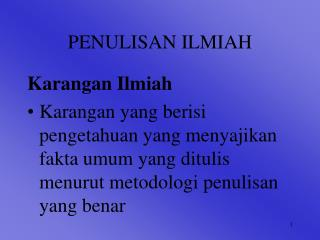 PENULISAN ILMIAH