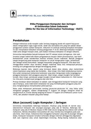 Etika Penggunaan Komputer dan Jaringan