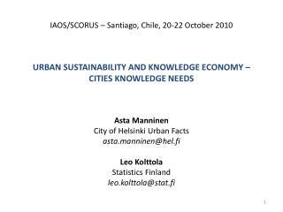 Urban sustainability and knowledge economy