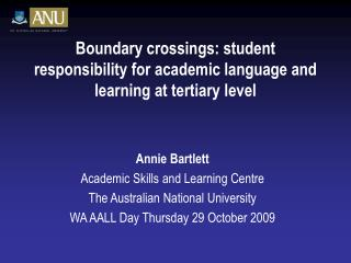 Boundary crossings: student responsibility for academic language and learning at tertiary level