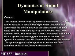Dynamics of Robot Manipulators