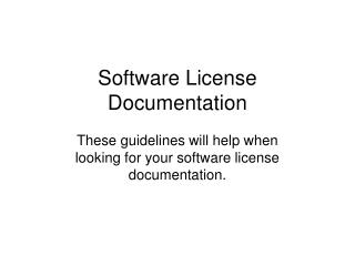 Software License Documentation