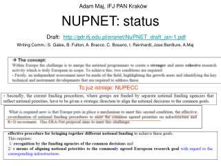 NUPNET: status