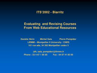 ITS�2002 - Biarritz Evaluating  and Revising Courses  From Web Educational Resources