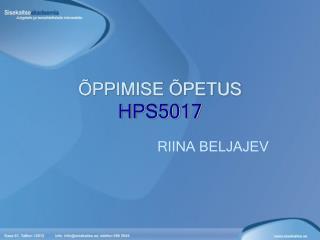 ÕPPIMISE ÕPETUS  HPS5017
