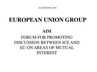 ICE MEETING 2001 EUROPEAN UNION GROUP