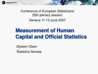 Measurement of Human Capital and Official Statistics