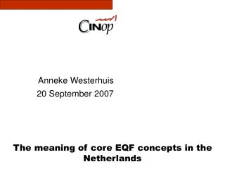The meaning of core EQF concepts in the Netherlands
